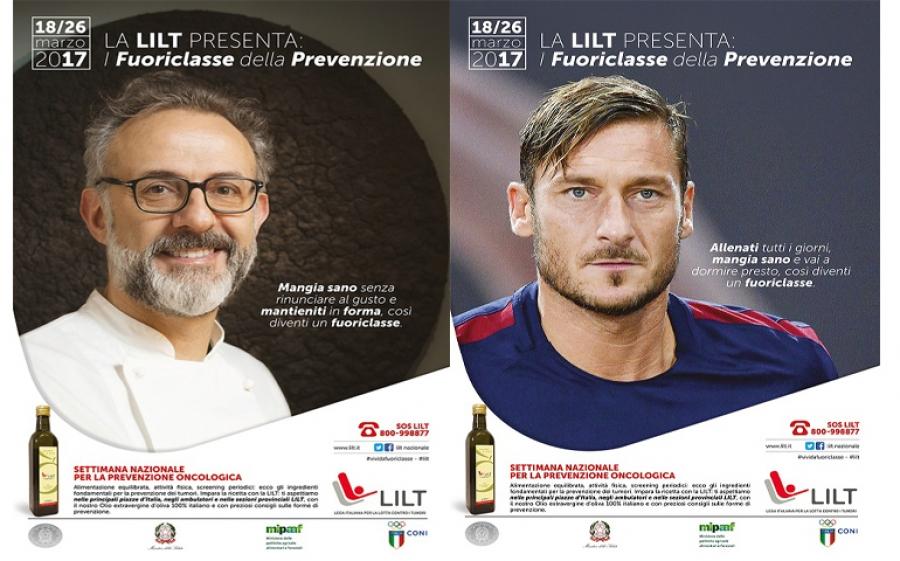 La Settimana Nazionale per la Prevenzione Oncologica per LILT ha due testimoni d'eccezione: Francesco Totti e Massimo Bottura