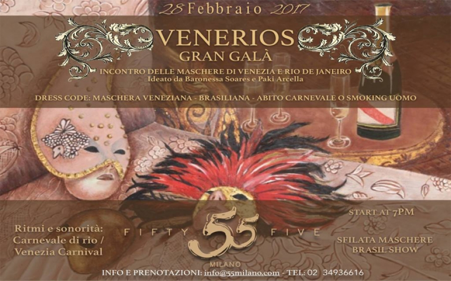 """""""Venerios"""": il carnevale di Rio incontra l'eleganza delle maschere veneziane al 55 Milano"""